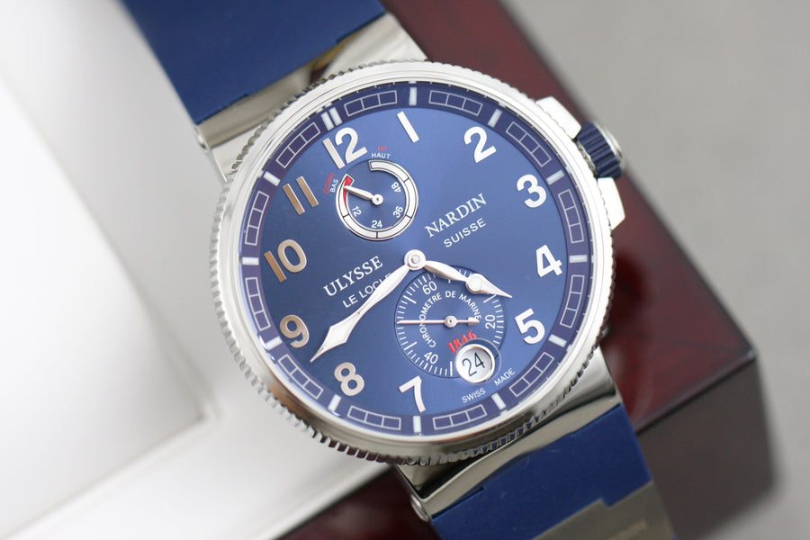 Ulysse Nardin Marine Chronometer Manufacture Blue Face Arabic Numerals - Subdial
