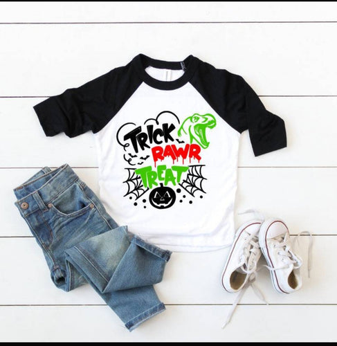 Trick Rawr Treat Boys Raglan Tee