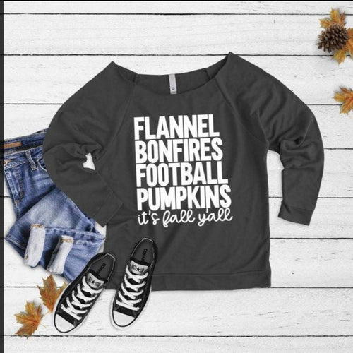 Flannel Bonfire Football Pumpkin Its Fall Yall 3/4 Tee