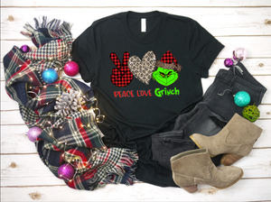 Peace Love Grinch Christmas Soft Tee