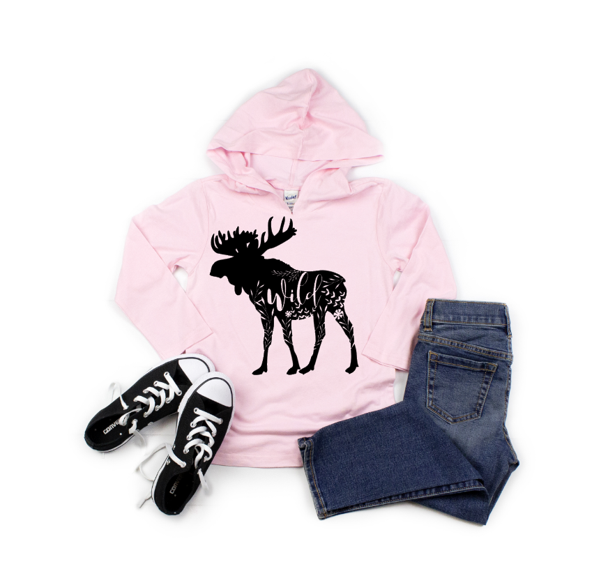 Floral Moose Youth Hooded Tee