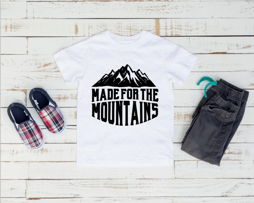 Made for the mountains kids youth camping outdoor travel explore shirt