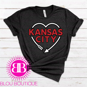 Kansas City Arrow Heart Dark Gray Tee