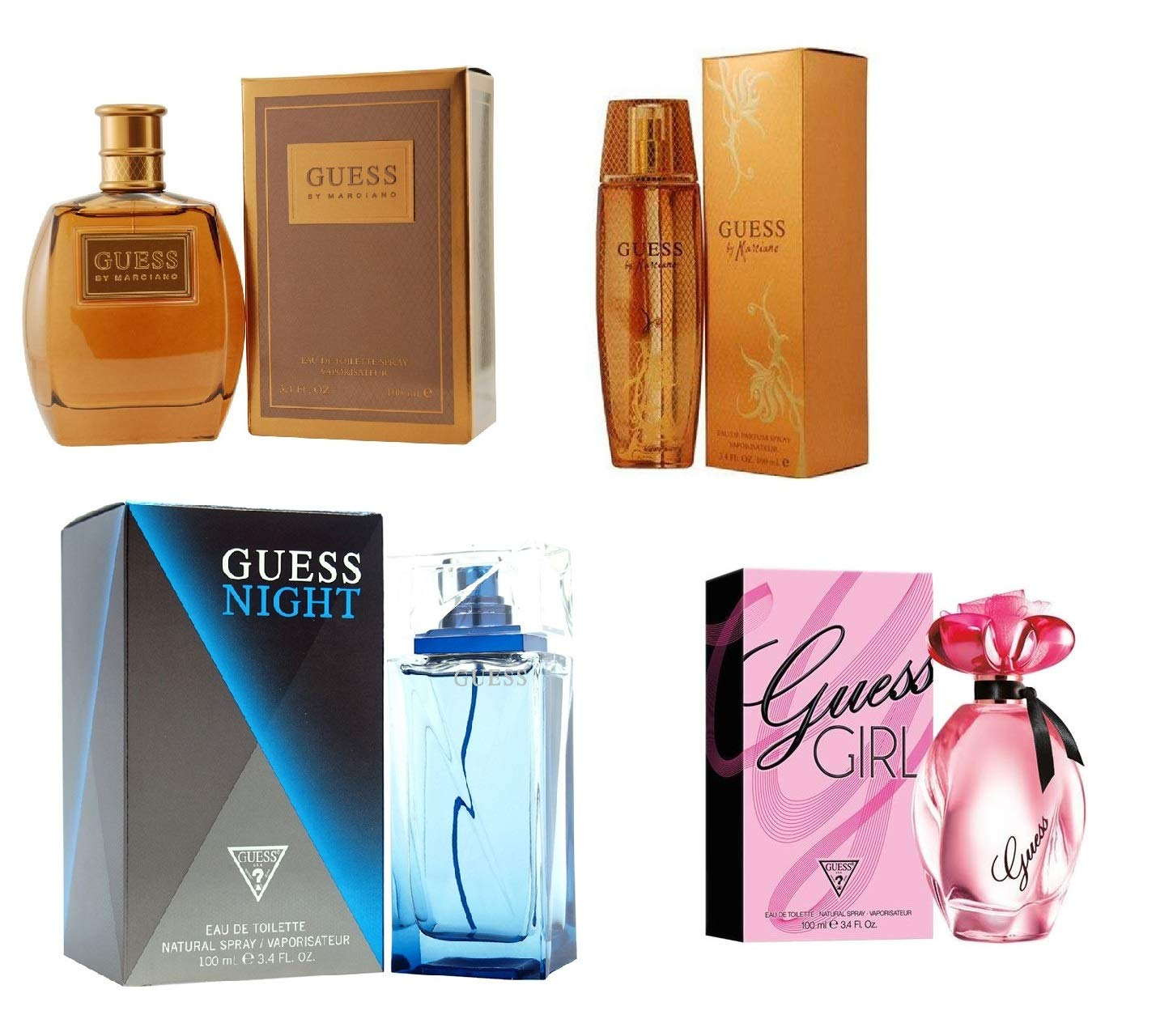 Bundle of 4 Guess Perfumes, Guess Marciano for Men & Women, Guess Night & Guess Girl