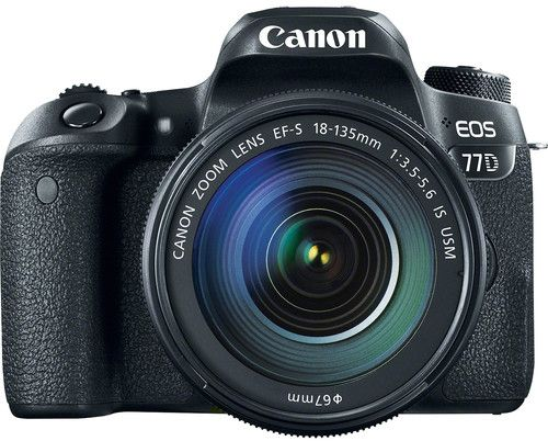 Canon EOS 77D EF-S 18-135mm F4-5.6 IS STM lens , 24.2 MP DSLR Camera, Black
