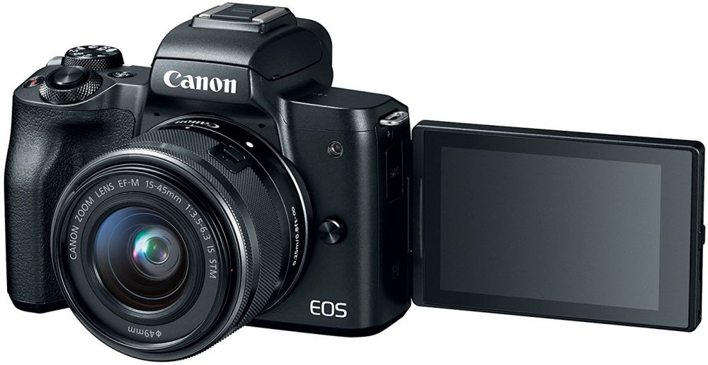 Canon EOS M50 EF-M 15-45mm F3.5-6.3 IS STM lens, 24.1 MP, 4K, Mirrorless Digital Camera, Black