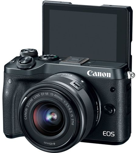 Canon EOS M6 EF-M 15-45mm F3.5-6.3 IS STM lens , 24.2 MP Mirrorless Digital Camera, Black