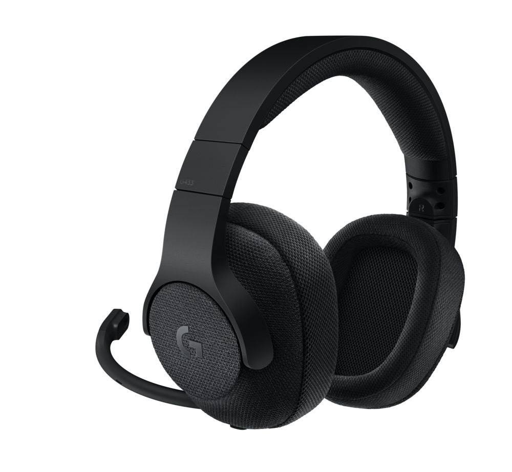 Logitech G433 7.1 Wired Surround Gaming Headset, Triple Black