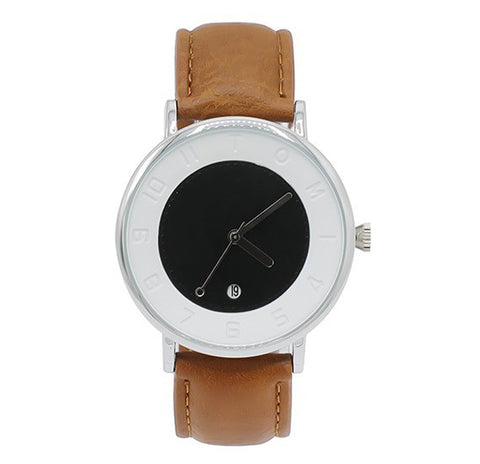 Tomi T085 Analog Quartz Unisex Watch - Black Brown