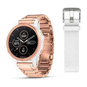 fēnix® 5S Plus Sapphire, White with Rose Gold-tone Metal Band
