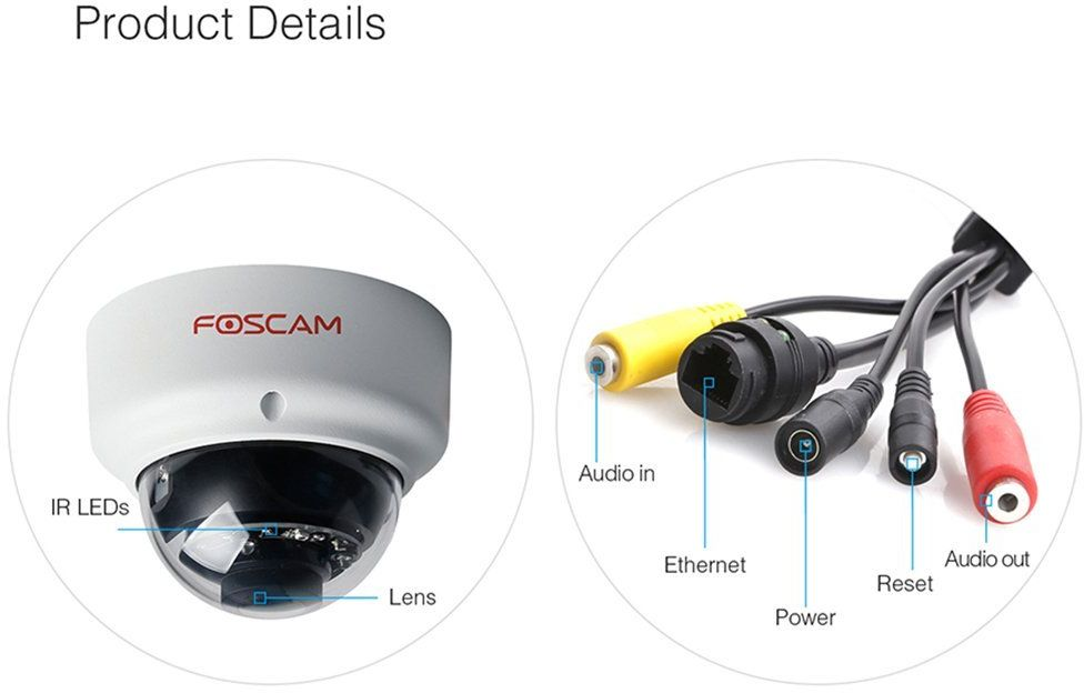 Foscam FI9961EP Vandal Proof Outdoor Full HD 1080P Dome Camera 2.0 Mega Weather proof 20m Night Vision