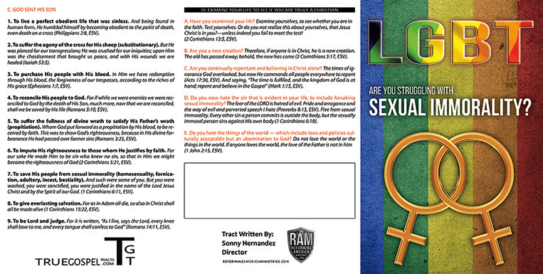Gospel Tract - LGBT - Are You Struggling With Sexual Immorality? by Dr   Sonny Hernandez
