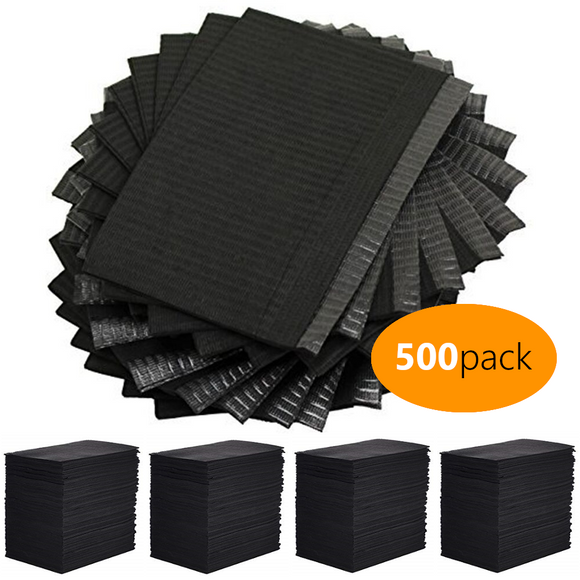 Black Disposable Lap Cloth (500 Pack) - dragonartus