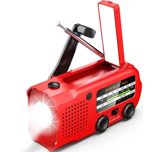 iRonsnow Weather AUTO Alert Emergency Radio, 5000mAh Solar Hand Crank Portable NOAA/AM/FM Radio with SOS Alarm Flashlight Earphone Jack, 14 Lamps Reading Light Cellphone Charger