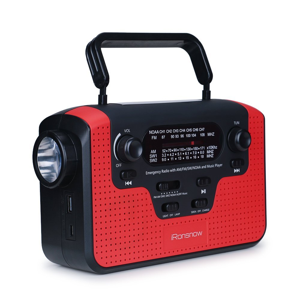 iRonsnow IS-388 Real NOAA Alert Weather Radio with Alarm, Solar Hand Crank  Emergency AM/FM/SW/WB Radio