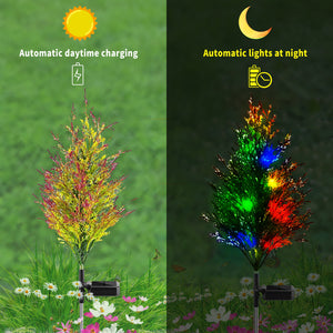 iRonrain Solar Garden Lights Pine, Solar Christmas Tree Lights, Solar Ground Lights IP65 Waterproof, Yard Decoration Solar Power Multi-Color Flickering Pine Lights for Patio Lawn Pathway
