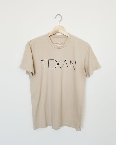 The Texan Pencil Tee (Unisex Tan/Black)