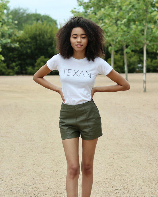 The Texan Tee (Women's White/Black)
