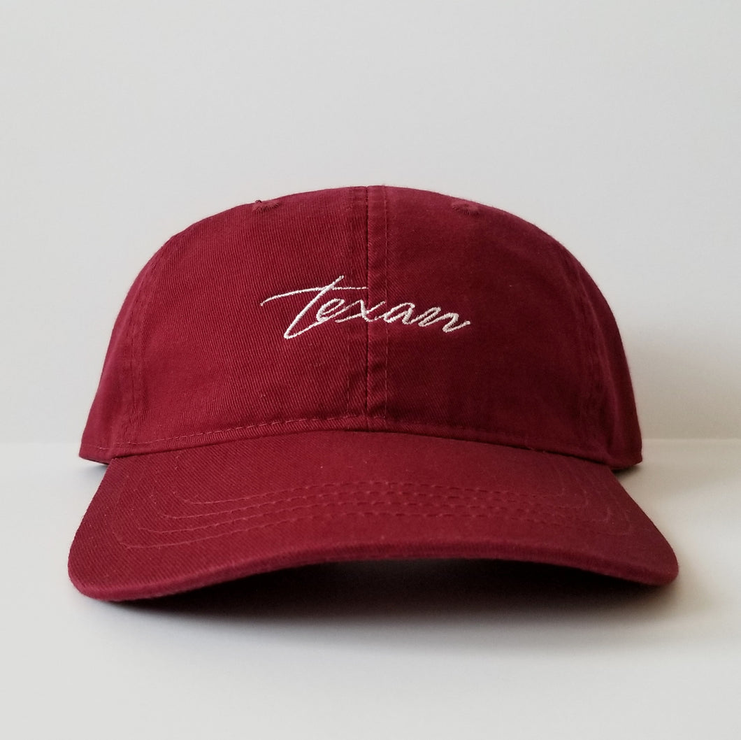 The Texan Hat (Maroon/White)