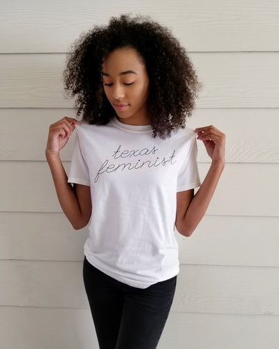 Texas Feminist Tee (White/Black)