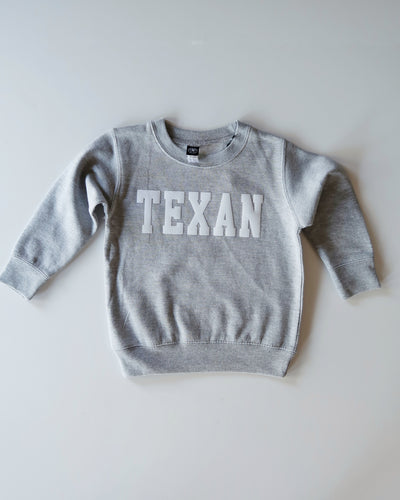 The Texan Toddler Crewneck (Grey/White)