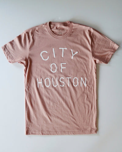The City of Houston Tee (Unisex Ash Pink/White)