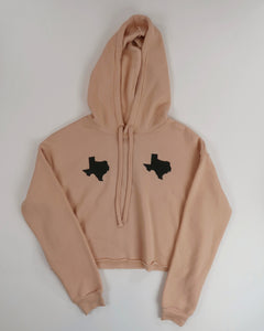 The Texas Tata Cropped Hoodie (Dusty Pink/Black)