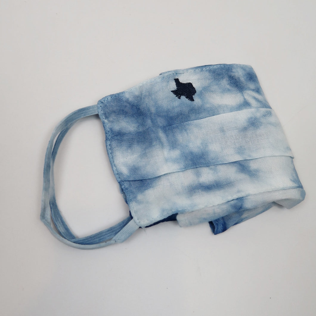 Texas Tie-Dye Mask (Navy embroidery)
