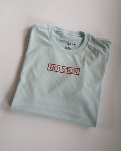 The Houston Stamp Tee (Sky Blue/Red)