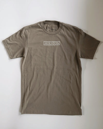 The Houston Stamp Tee (Olive/White)