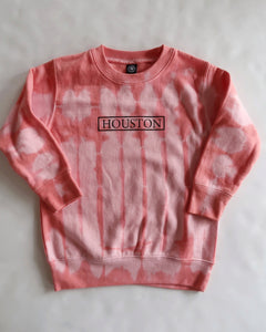 The Houston Stamp Toddler Crewneck (Pink Tie Dye)