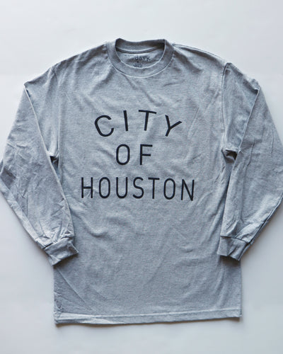 The City of Houston Long Sleeve Tee (Unisex Grey/Black)