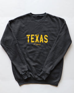 Texas Drop Shoulder Crewneck Sweatshirt (Charcoal/Yellow)