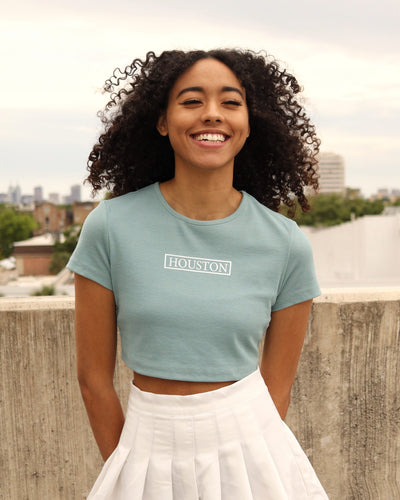 The Houston Stamp Ribbed Crop Shirt (Teal/White)