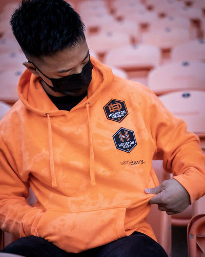 The Sam & Davy & Houston Dynamo and Dash Reverse Dye Hoodie (Unisex Orange)