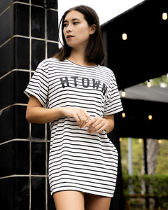 HTOWN Striped Mini T-shirt Dress (Black/White)