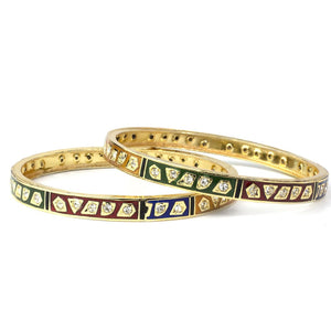Set of 2 Gold Polish Meenakari Bracelets for Daily