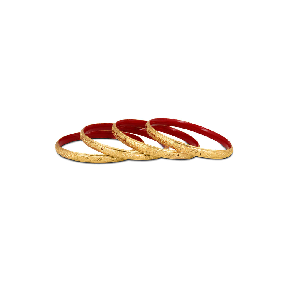 Guarantee Golden Dyed Bangles With Intricate Design And Enamel Undercoating