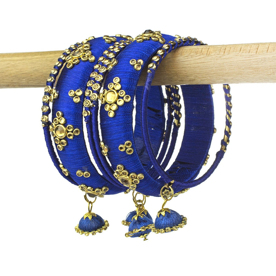 Traditional Thread Bracelet Set With Stones And Jhumki