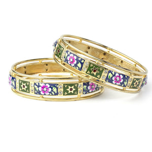 Set of 2 Broad Gold Plated Meenakari Bracelets for Partywear and Daily Use