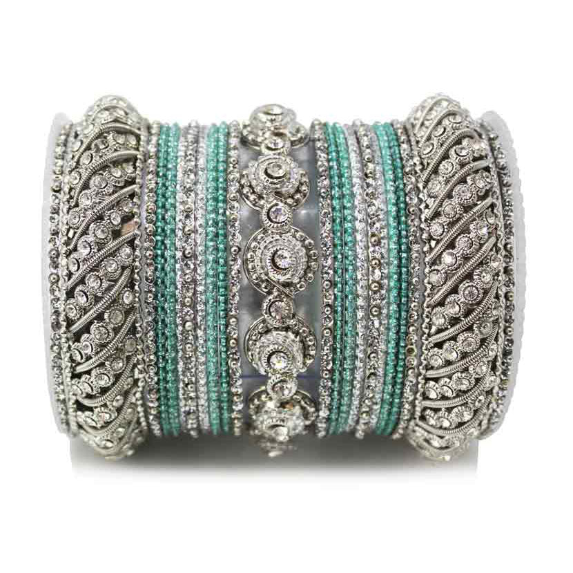 Traditional Colored Textured Bangle Set For Single Hand (Plus Size)