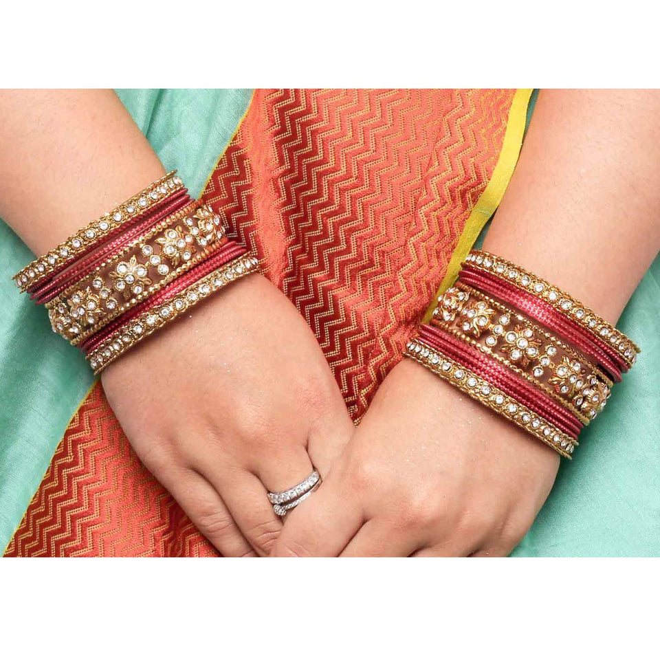 Traditional Colored Flower Pattern Bangle Set