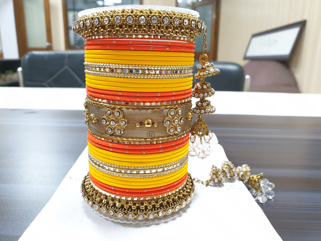 Traditional Matte Finish Kundan Bangle Set