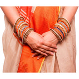 Set of 2 Traditional Multi-Colored Pearl Chakri Bangle Set