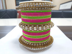 Traditional Multi-Colored Pearl Chakri Bangle Set