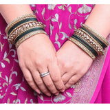 Traditional Shining Bangle Set For Women With Lac And Golden Stone