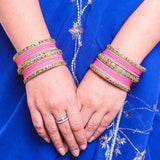 Golden Kada With Multi-Colored Stones And Matte Finish Bangle Set For Women