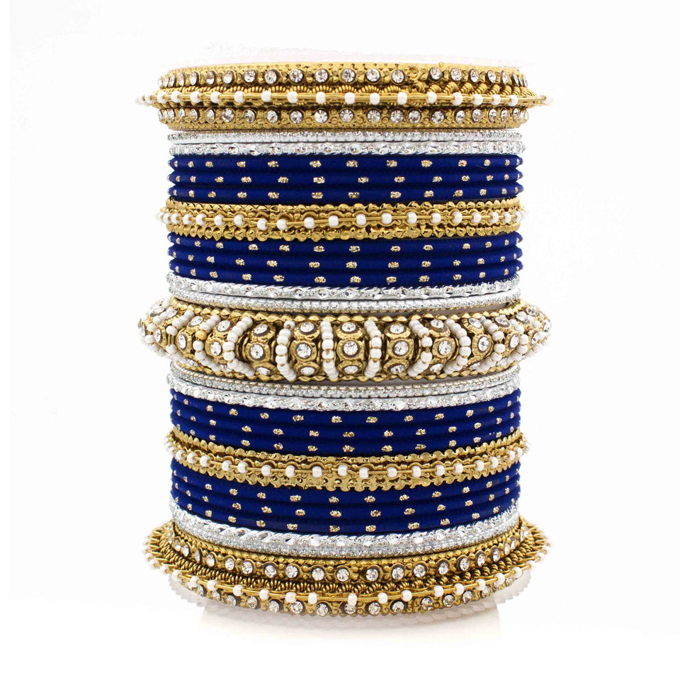 Beautiful Dotted Bangle And Pearl Bangle Set