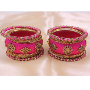 Set of 18 Silk Thread Kada and Pacheli Bangles by Leshya