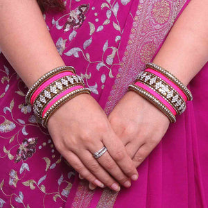 Stylish Matte Finish And Running Stone Pattern Bangle Set